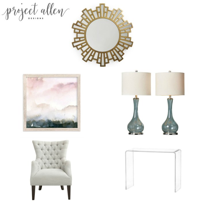Friday Favorites, home decor ideas, teal lamp,gold mirror.wake print,tufted chair.acrylic console,