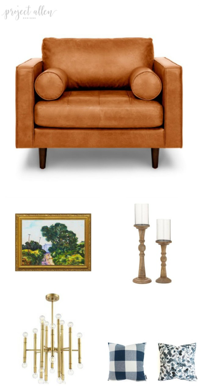 Friday Favorites. home decor ideas, modern decor, leather arm chair, oil paiting print, candle holders, pillows chandlier