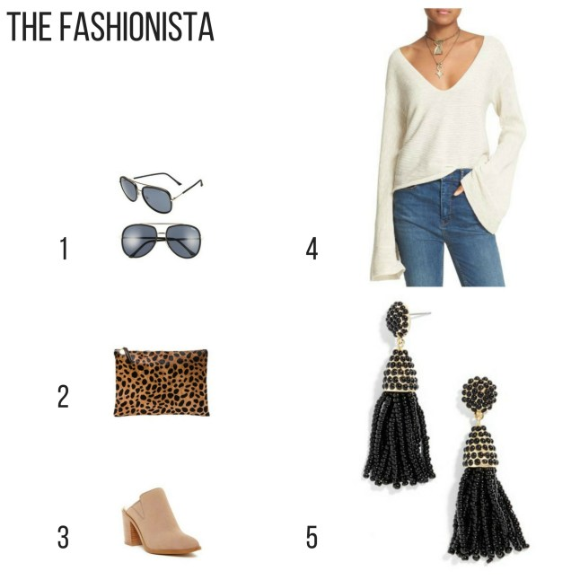 Holiday Gift Guide. The fashionista, gift ideas, sunglasses, leopard clutch, mule bootie, tassel earrings, bell sleeve sweater,