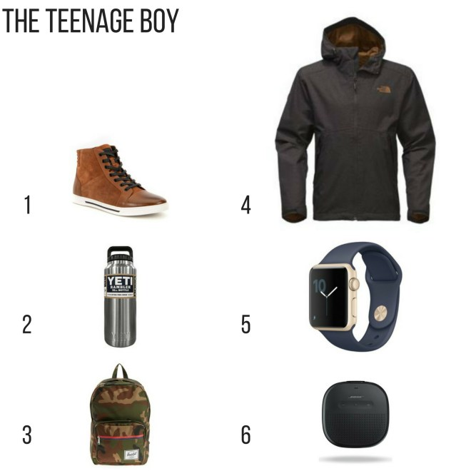 Holiday gift guide for the teenage boy, kenneth cole fence around sneakers, yeti rambler, camo backpack, north face jacket, blue apple watch, bluetooth speaker,