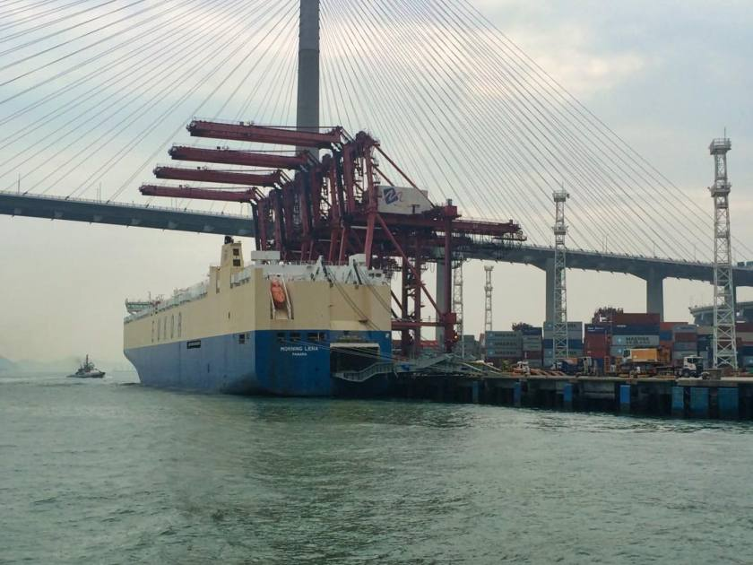 EUKOR vessel berthed in Hong Kong. Photo taken by the editor of PCW
