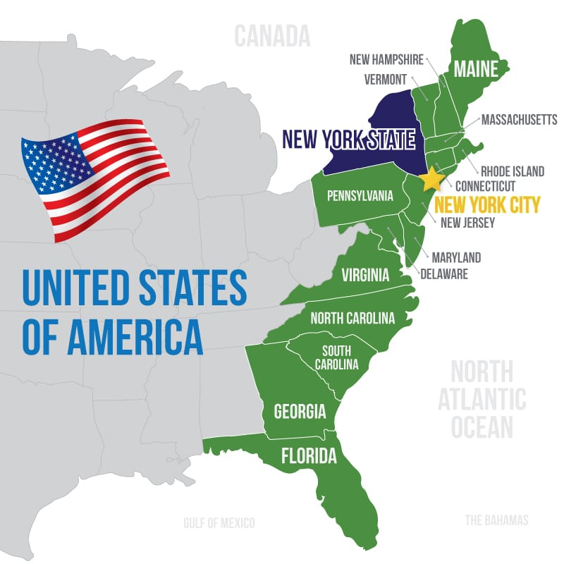 USA-NY-State-NY-City-East-Coast Map