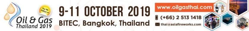Oil and Gas Thailand 2019, 9-11 October 2019, Bangkok, Thailand