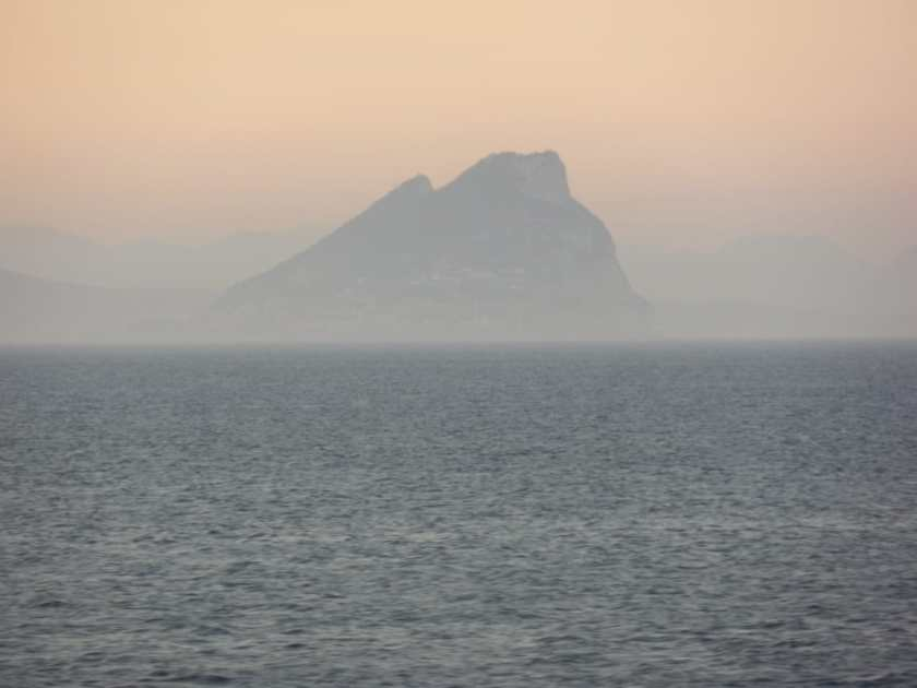 Gibraltar seen from a long distance through mist.