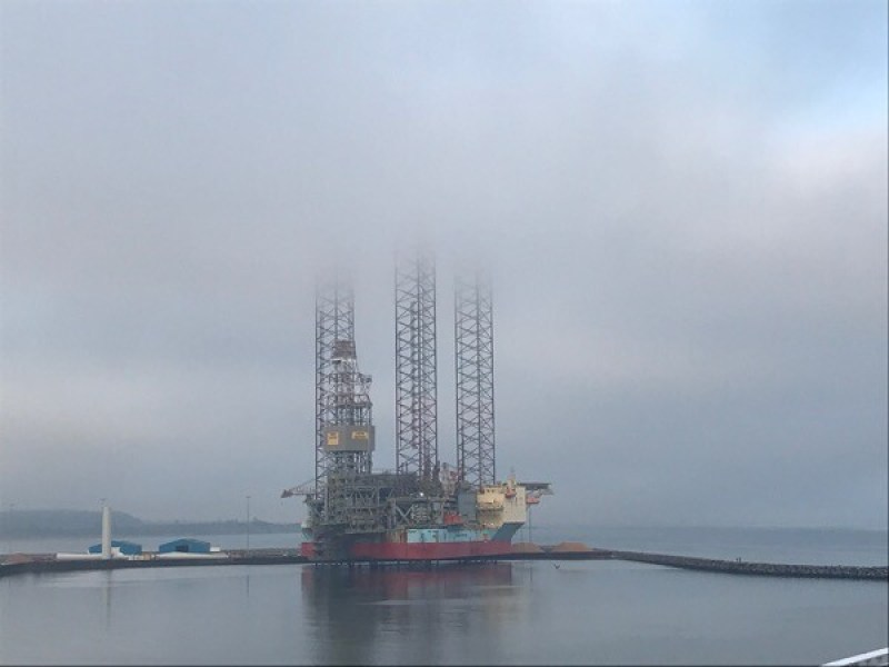Normally it's gorillas in the mist but here it's a huge Maersk drilling rig in the mist.  Pictured laid up at Port of Grenaa, Denmark.