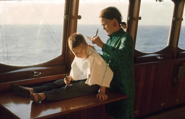 Your editor getting a haircut onboard MV Thyra Torm, 1968, in the Pacific, enroute to Yokohama.