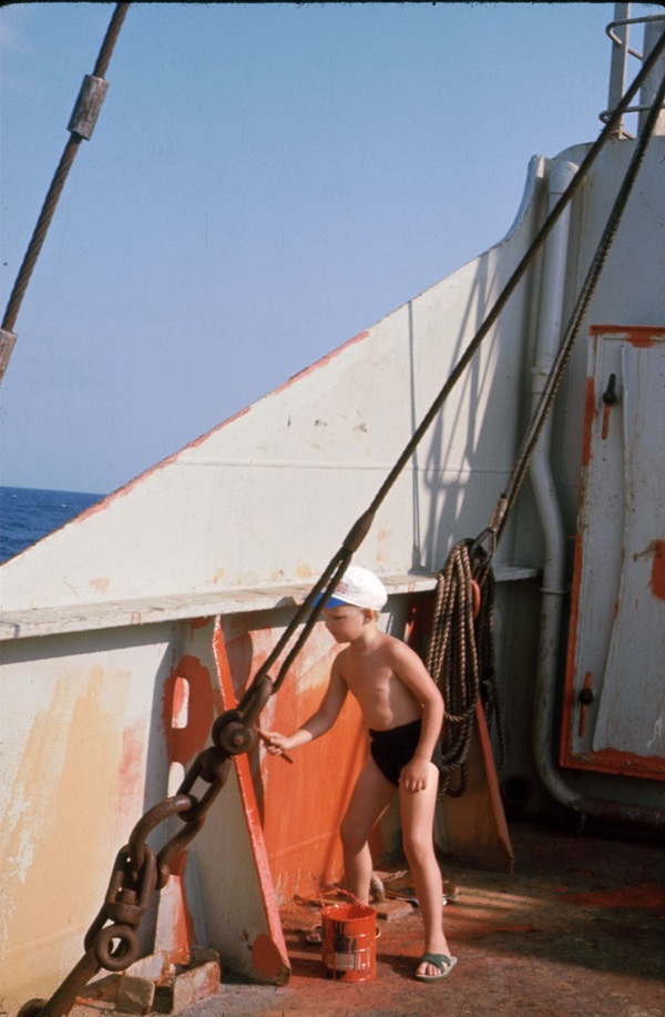Deckhand Bo Drewsen at work onboard Thyra Torm in the Pacific 1968