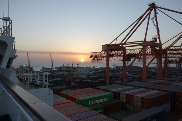 Sunset in the Port of Jeddah, Saudi Arabia