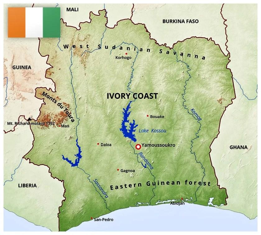 Map of the Ivory Coast