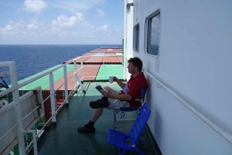 Relaxation onboard – sitting on my balcony digesting one of the 20 books I brought  onboard. The views and weather were wonderful.
