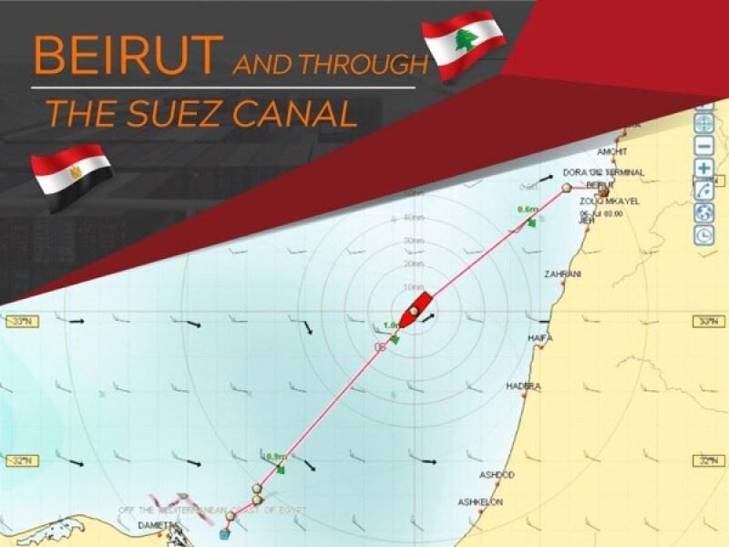 Beirut through Suez Canal
