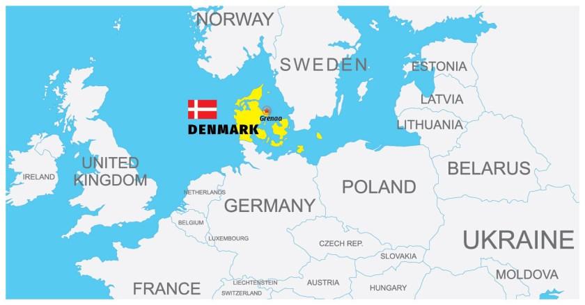 Map showing Grenaa in Denmark