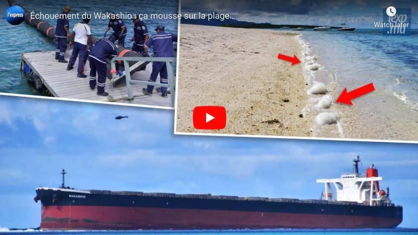 Grounding of the Wakashio: it's foaming on the beach