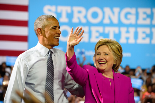 CHARLOTTE, NC, USA - JULY 5, 2016: President Obama and Hillary Clinton take the stage at their first campaign appearance at the Charlotte Convention Center. (Evan El-Amin / Shutterstock.com)