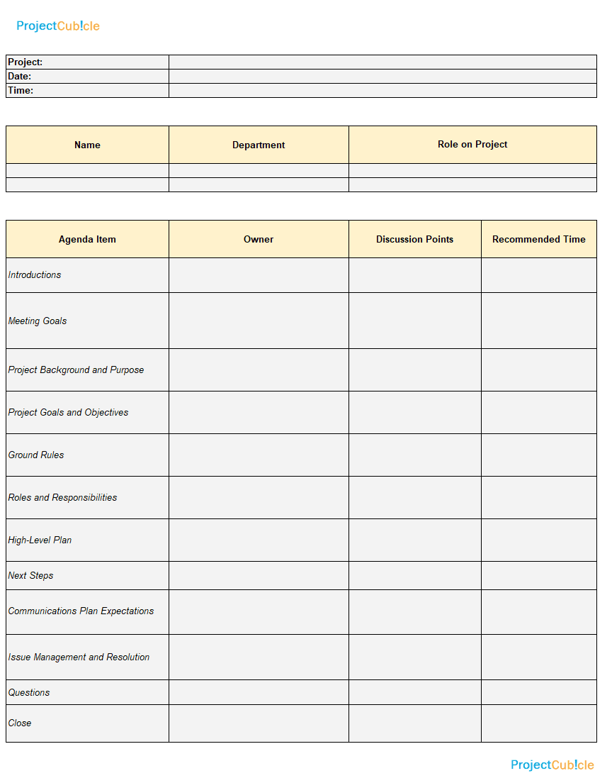 Use the lines at the top of the template to record vital information about the meeting, including its title and subject or objective. A Sample Kickoff Meeting Agenda Template For Projects Projectcubicle