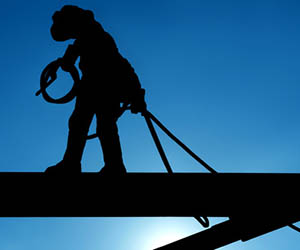 High risk worker on construction site