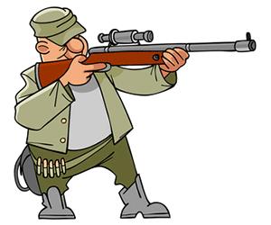 hunter with scope on gun