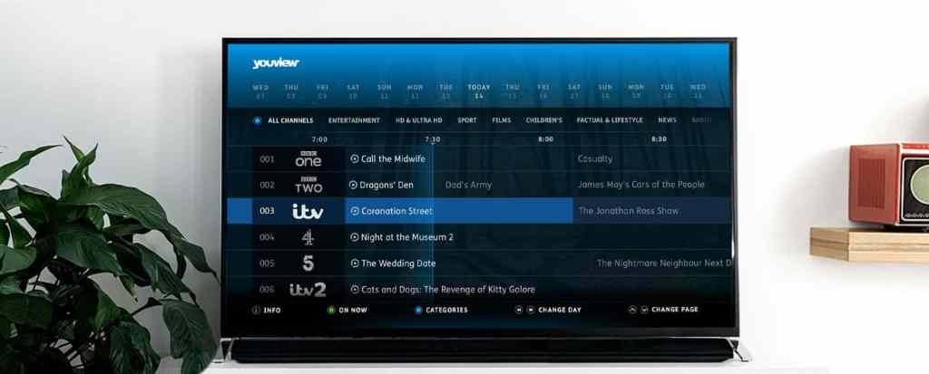 tv with youview screen showing on tv