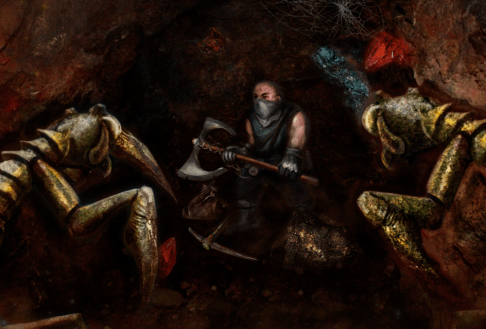 Digital painting of underground dwarf fighting off monsters