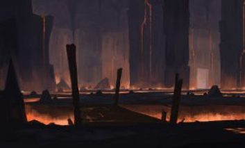 Concept art of an underground bridge over lava