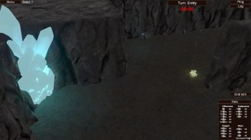 3D image of cave room with glowing crystals and mushrooms