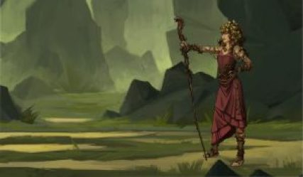 Digital illustration of a female Forest Druid holding a staff