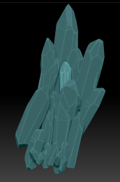 3D model of a cluster of large crystals