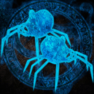 2 neon blue humanoid spiders