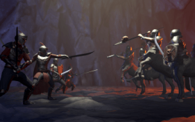 A 3D game render of underground battle scene between Knights and Icegrip Centaurs