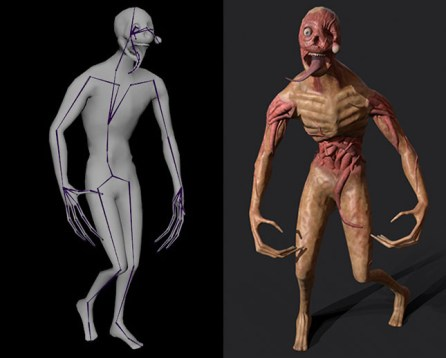 Side by side image of a zombie with its rigging showing next to the finished model