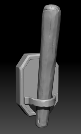 A black and white 3D model of a wooden torch