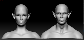 Black and whire 3D models of female and male elf facing forward