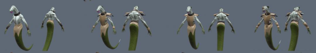 3D renders of humanoid snake creature