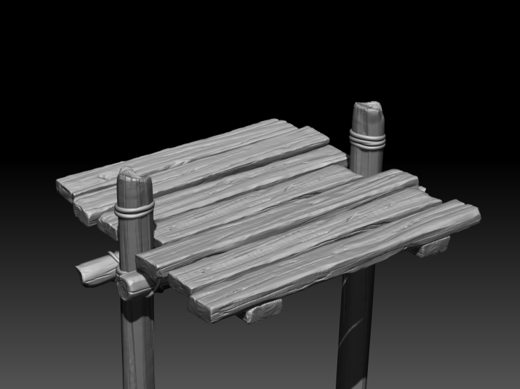 Black and white render of 3D wooden bridge