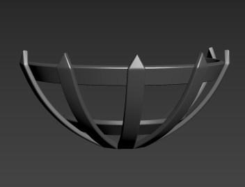 Black and white 3D render of metal torch holder