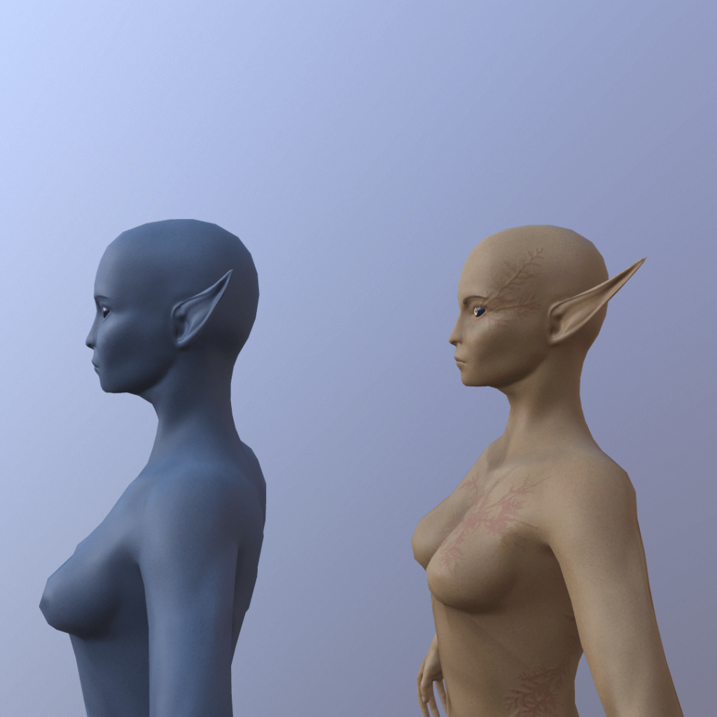 Side-shot of two 3D female elf models. One is blue and the other has longer ears.