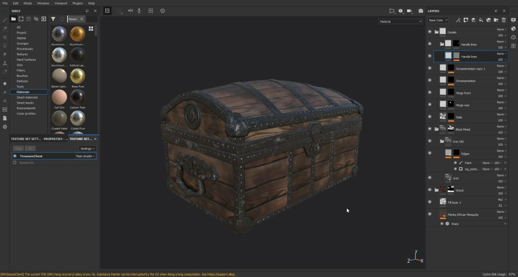 Screenshot showing a wooden chest being made in Substance Painter