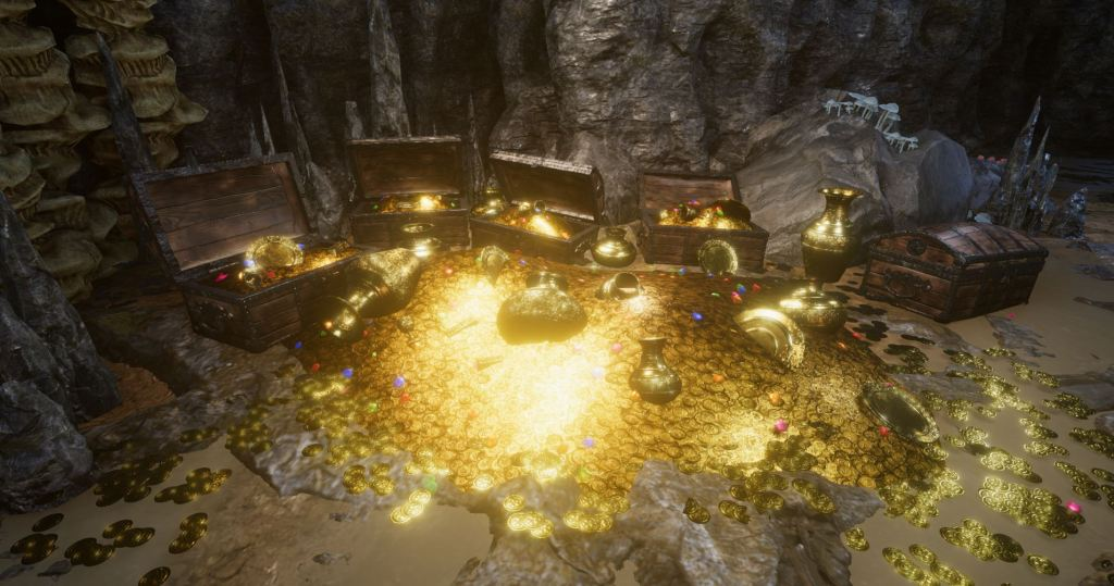 Screenshot from Unity showing three treasure chests surrounded by glowing piles of gold coins and items