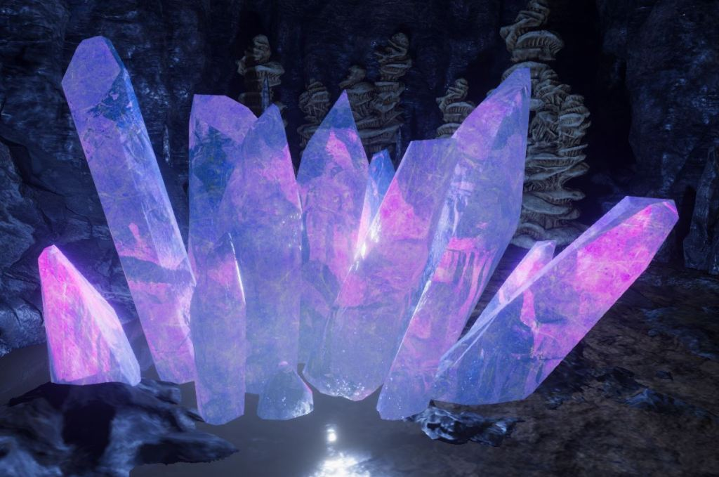 Screenshot from Unity showing a glowing blue and purple crystal cluster