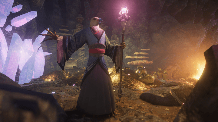 Screenshot from Unity showing a humanoid bird holding a glowing staff in a cave room