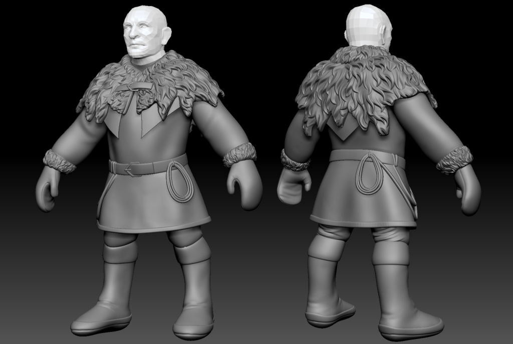 Front and back of a Frost Dwarf's base mesh in ZBrush.