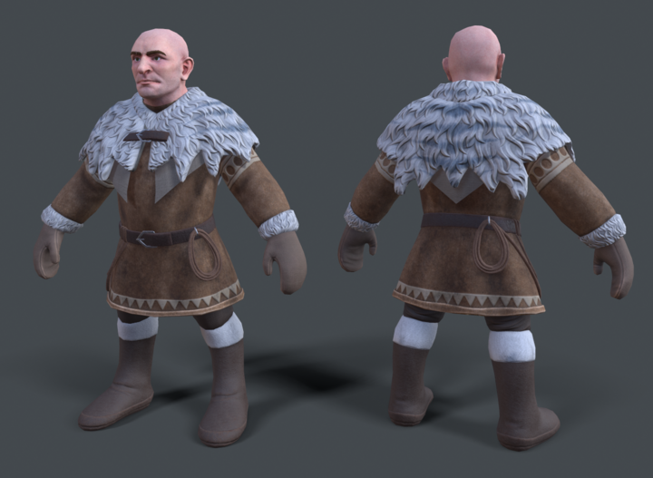 Front and back of a fully textured Frost Dwarf Wrangler from Depths of Erendorn.