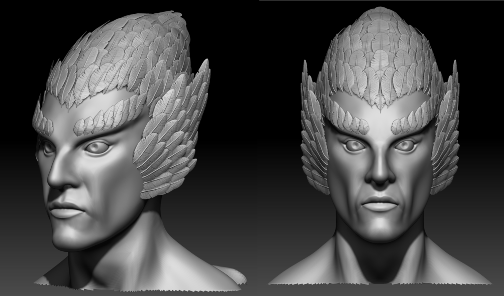 Close up of Daggerclaw Harpy face in ZBrush
