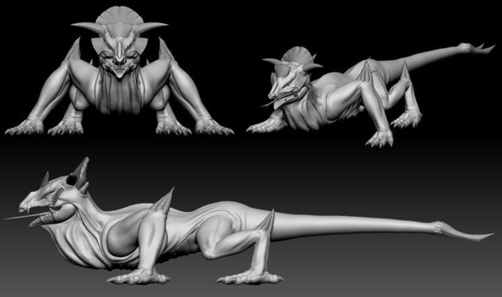 ZBrush sculpt of a Big Lizard from Depths of Erendorn