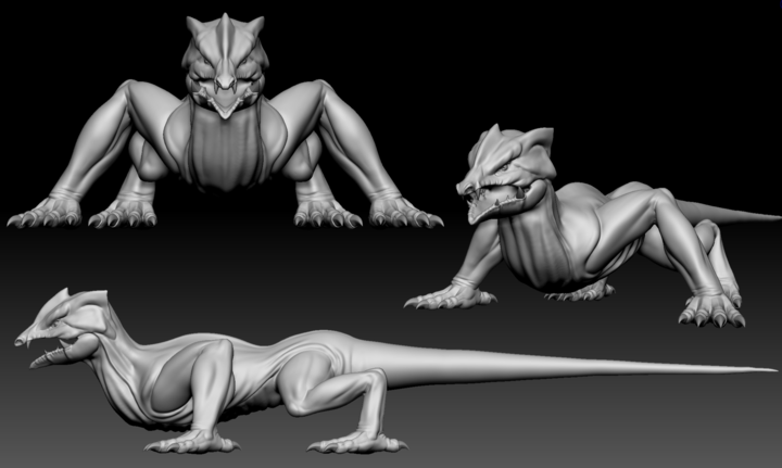 Finished sculpt of the Lizard base in ZBrush