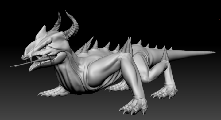 Zbrush sculpt of a Thorny Lizard from Depths of Erendorn