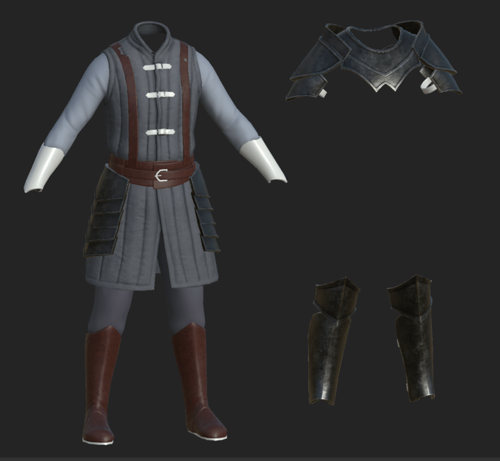 WIP texture screenshot of Storm Elf Warrior's clothes and armour