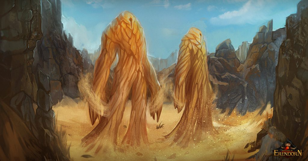 Digital painting of two giant sand creatures in the desert