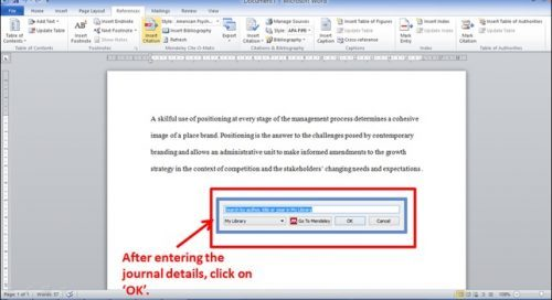 Enter details in Word document using Mendeley