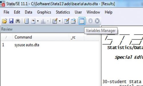 Variable manager icon can be used to manage the variables included